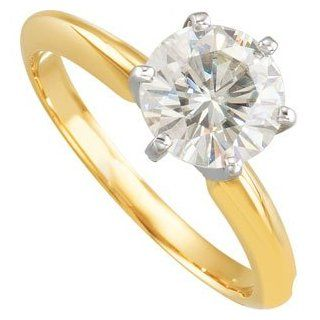 Created Moissanite Solitaire Engagement Ring 14K Yellow/White Gold 07.50 mm Jewelry