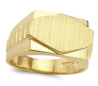 Men's Flat Name Plate Ring 14k Yellow Gold Band Jewel Tie Jewelry