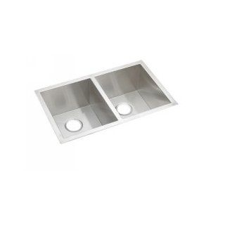 Elkay EFU311810DBG Satin Stainless Steel Avado Deep Square Edge Double Bowl Kitchen Sink Package with Grid & Drain   Single Bowl Sinks