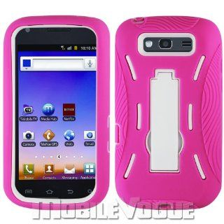 Samsung Galaxy S Blaze 4G / T769 Hot Pink / White Combo Silicone Case + Hard Cover + Kickstand Hybrid Case For T Mobile Cell Phones & Accessories
