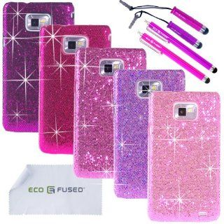 ECO FUSED� 10 pieces Bling Glitter Sparkle Hard Cover Case Bundle for Samsung Galaxy S2 (GT I9100 (International Version), AT&T SGH I777) / 5 Sparkle Hard Cover Cases (Dark Purple/Purple/Hot Pink/Pink/Light Pink) / 4 Stylus (Hot Pink/Purple)   ECO FUSE