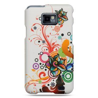 Rubberized white phone case with autumn flowers design for the Samsung Galaxy S II/SGH i777 carried by AT and T
