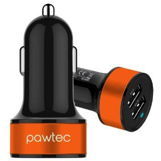 Pawtec Signature Mini Dual USB Car Charger 5V 3.1A / 15W High Speed For iPhone 5S/5C, iPad/Mini, Galaxy S5/S4/Note 3, HTC, Nexus, iPod, All Android Devices, All iPhones, Smartphones & Tablets with Storage Sleeve   BLACK Cell Phones & Accessories