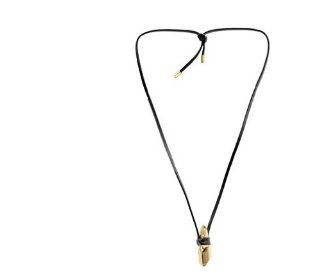 Michael Kors Gold Leather Nugget Pendant Necklace MKJ2231 Jewelry