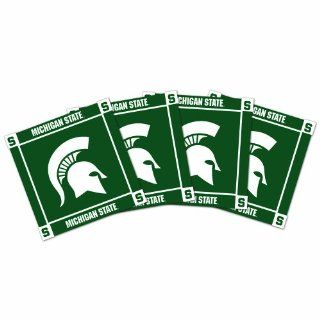 NCAA Michigan State Spartans Ceramic Coasters Pack of 4, Green  Sports Fan Beverage Coasters  Sports & Outdoors