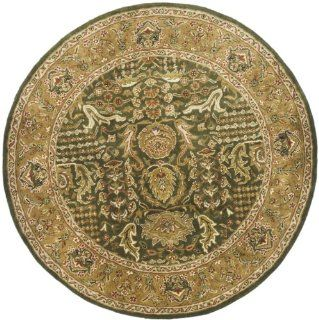 Safavieh Classics Collection CL764B Handmade Light Green and Gold Wool Round Area Rug, 8 Feet