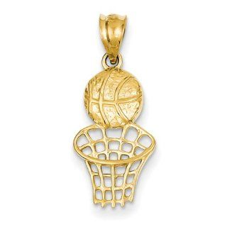 14K Yellow Gold Basketball & Net Charm Pendants Jewelry