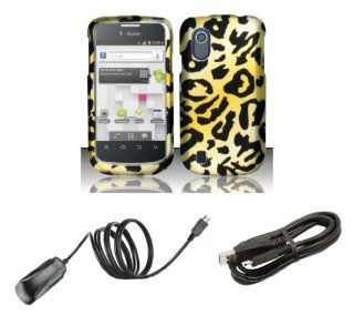 T Mobile ZTE Concord V768   Bundle Pack   Cheetah Design Cover Case + Atom LED Keychain Light + Micro USB Cable + Wall Charger Cell Phones & Accessories