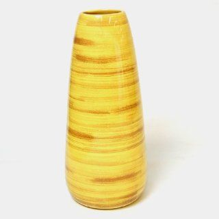 EXP Handmade Ceramic Spun Bamboo Style Tall Flower Vase In High Gloss Yellow   Decorative Vases