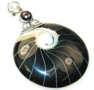 Shell Women's Silver Pendant 14.40g (color black, dim. 2 3/4, 1 7/8, 1/4 inch). Shell, Fresh Water Pearl Crafted in 925 Sterling Silver only ONE pendant available   pendant entirely handmade by the most gifted artisans   one of a kind world wide item