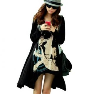FUNOC Womens Punk Skull Skeleton Long Sleeve Loose Asymmetrical Hem T Shirt Dress Top