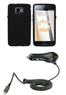 Samsung Galaxy S II SGH I777 (AT&T) Premium Combo Pack   Black Silicone Soft Skin Case Cover + Atom LED Keychain Light + Car Charger Cell Phones & Accessories