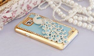 Imprue Deluxe Handmade NAVY BLUE turquoise / WHITE Pearls Peacock Bling Crystal Diamond Rhinestone Hard Case Skin Cover for Samsung Galaxy S2 SII / S2 i9100 for AT&T SGH i777 Cell Phones & Accessories