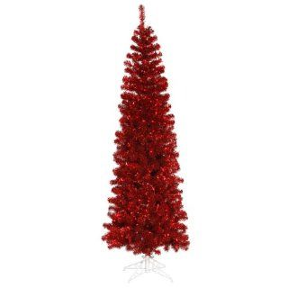 12' Pre Lit Red Hot Artificial Pencil Tinsel Christmas Tree   Red Lights
