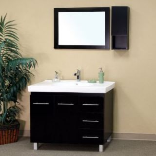 Bellaterra Bolzano 39.4 in. Black Single Bathroom Vanity with Optional Mirror and Cabinet   Single Sink Bathroom Vanities
