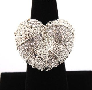 Silver with Clear Iced Out Heart Style Stretch Finger Ring Poparazzi Jewelry