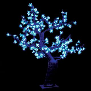 2.5 ft. Pre lit LED Cherry Blossom Tree   Blue   Christmas Trees