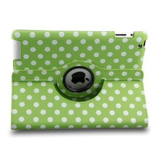 Generic Green Polka Dot Pattern PU Leather Case For iPad 2/3/4 Generation With 360 Degrees Rotating Stand Cell Phones & Accessories