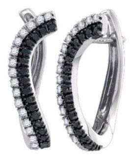 0.7 cttw 10k White Gold Black Diamond and White Diamond Huggie Hoop Earrings (Real Diamonds 0.7 cttw) Jewelry