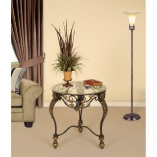 Passport Metal Round Accent Table with Glass Top   End Tables