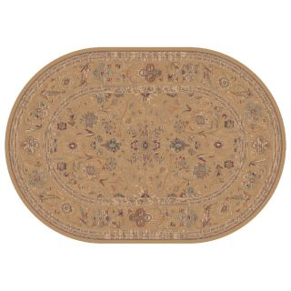 Dynamic Rugs Ancient Garden Collection Oval Hearth Rug Champagne Floral   Hearth Rugs