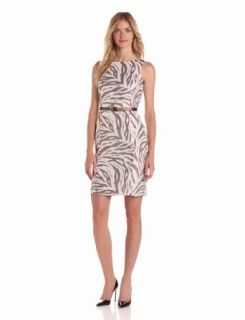 Anne Klein Women's Zebra Jacquard Zipper Sheath Dress, Ivory/Coconut, 4