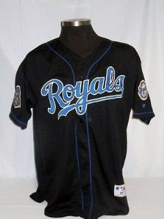 Kansas City Royals Authentic Russell Black Jersey w/ 40th Anniv. & Flag Patch Sports Collectibles
