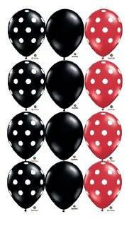 "Black Red White Dot Ladybug Birthday 11"" Balloon (12) Latex"