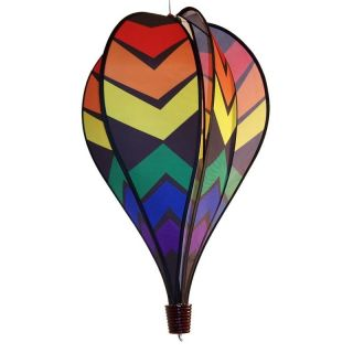 In the Breeze Black Rainbow Hot Air Balloon   No Spinner Tail   Wind Spinners