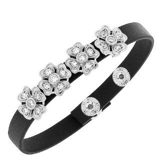 Black Leather Silver Tone White Crystals CZ Flowers Floral Design Wristband Womens Adjustable Bracelet My Daily Styles Jewelry