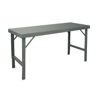 "Durham 14 Gauge Steel Ergonomic Folding Leg Style Work Bench with Steel Top, WBF 3096 95, 2000 lbs Capacity, 96"" Length x 30"" Width, Gray Powder Coat Finish Science Lab Benches"