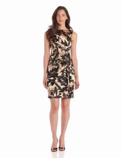 London Times Women's Side Ruched Printed Sheath Dress, Champagne, 2