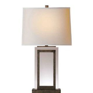 Visual Comfort CHA8983SNNP Chart House 1 Light Large Crystal Panel Table Lamp in Sheffield Nickel CHA8983SNNP