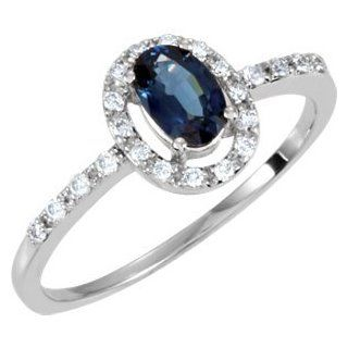 14k White Gold Genuine Blue Sapphire & Diamond Ring by US Gems, Size 6 Jewelry