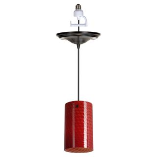 Worth Home Products Instant Pendant Light with Red Glass Shade   5 diam. in. Antique Bronze   Pendant Lighting