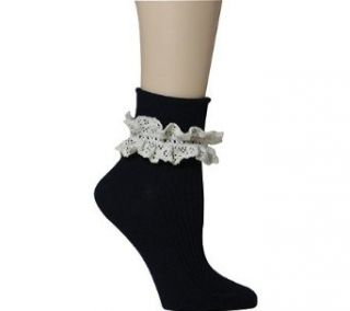 AMU [Almost Maybe Understood] Ladies Ankle Sock with Lace Top   Black, One size fits most   ladies Novelty Socks Clothing