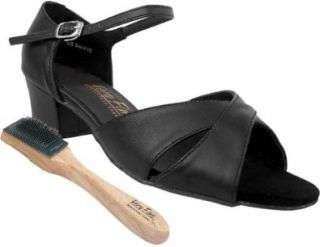 "Very Fine Salsa Ballroom Tango Practice Dance Shoes 803 Bundle with Dance Shoe Wire Brush 1.5"" Heel Shoes"