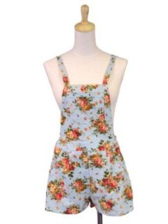 En Creme Spring Country Girl Floral Print Front Pocket Linen Overall Shorts