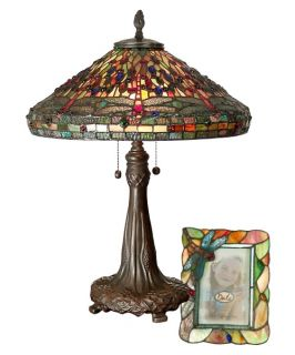 Dale Tiffany Dragonfly Table Lamp and Picture Frame Set   Table Lamps