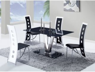Global Furniture V Pedestal 5 Piece Glass Dining Table Set   Black   Dining Table Sets