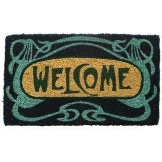 Art Deco Welcome Hand Woven Coir Doormat   Outdoor Doormats
