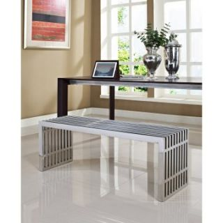Modway Large Gridiron Stainless Steel Bench   Silver   Indoor Benches