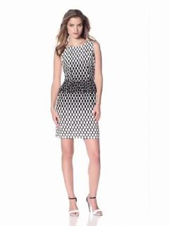 Donna Morgan Women's Sleeveless Peplum Dress With V Back, Black/White, 4