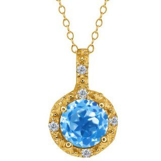 0.63 Ct Round Swiss Blue Topaz and White Diamond 18k Yellow Gold Pendant Jewelry