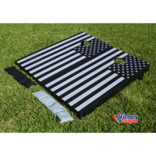 Victory Tailgate Black and Gray American Flag Tournament Cornhole Set   Cornhole