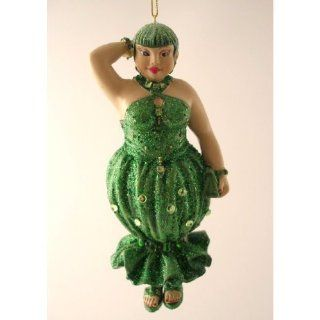 December Diamonds Hand Painted Emerald Lady Ornament  Entire Dress is Embellished with Emerald Green RhinestonesShe is a Discontinued Collectible & Arrives in December Diamonds Gift Box  Decorative Hanging Ornaments
