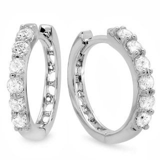 0.33 Carat (ctw) 14k White Gold Round Diamond Ladies Huggies Hoop Earrings 1/3 CT Jewelry