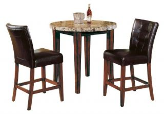 Steve Silver Montibello 3 Piece Marble Top Counter Height Round Pub/Dining Table Set   Pub Tables