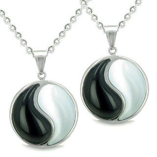 Amulets Love Couple or Best Friends Forever Balance Yin Yang Magic Medallions Man Made Black Onyx and White Cat's Eye Pendants Necklaces Best Amulets Jewelry