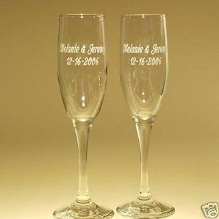 2 Engraved Wedding Flutes Personalized Toasting Glasses Kitchen & Dining